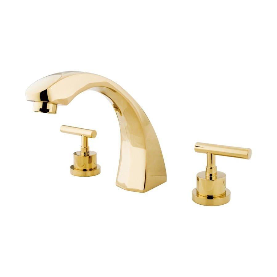 Elements of Design Manhattan Polished Brass 2-Handle-Handle Adjustable Deck Mount Bathtub Faucet