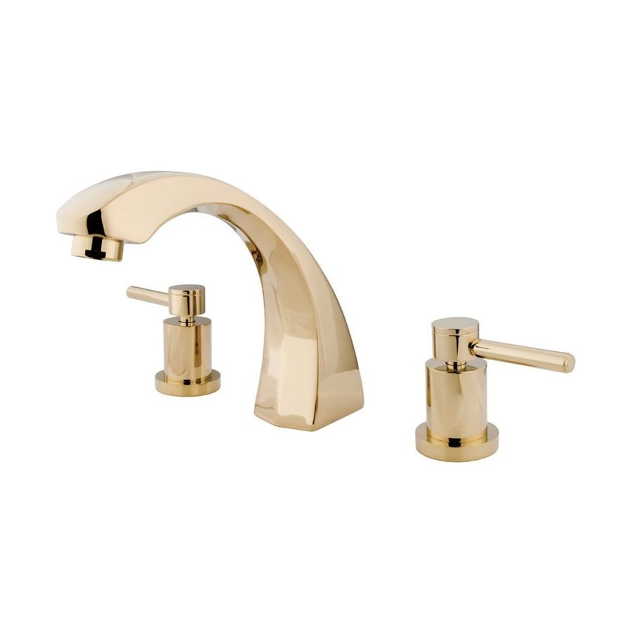 Elements of Design Concord Polished Brass 2-Handle Adjustable Deck Mount Bathtub Faucet