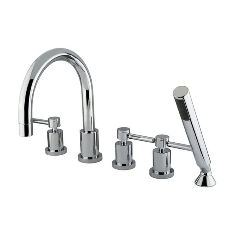 Elements of Design Polished Chrome 3-Handle Adjustable Deck Mount Bathtub Faucet