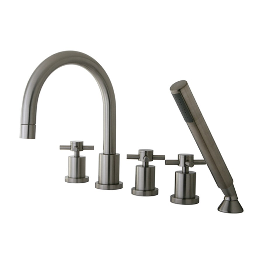 Elements of Design Concord Satin Nickel 3-Handle Bathtub and Shower Faucet Trim Kit with Handheld Showerhead