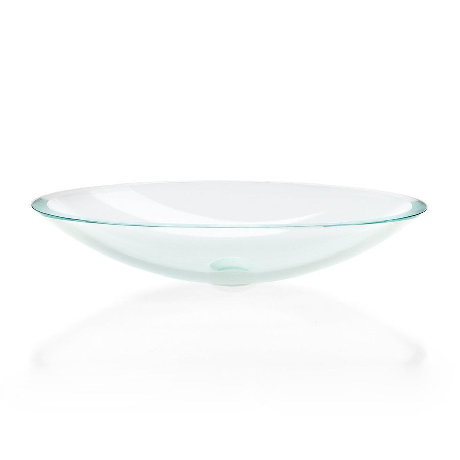 WS Bath Collections Linea Extra Clear Glass Vessel Oval Bathroom Sink