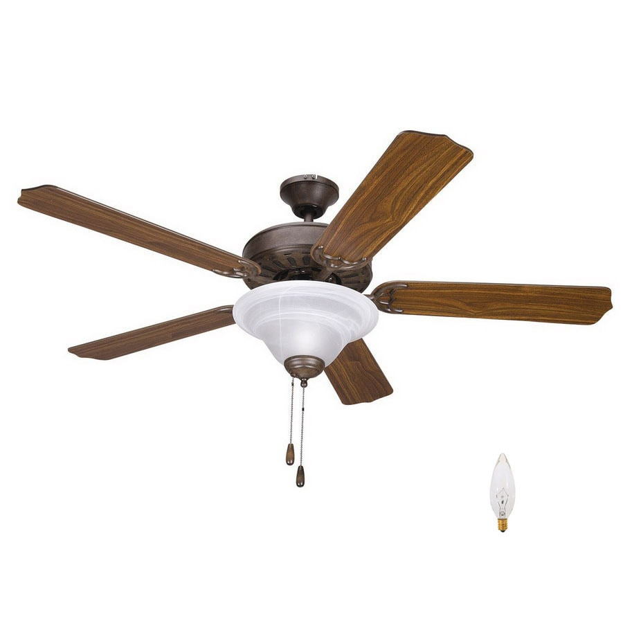 Shop Yosemite Home Decor 52 In Builder Dark Brown Ceiling Fan With Light Kit At