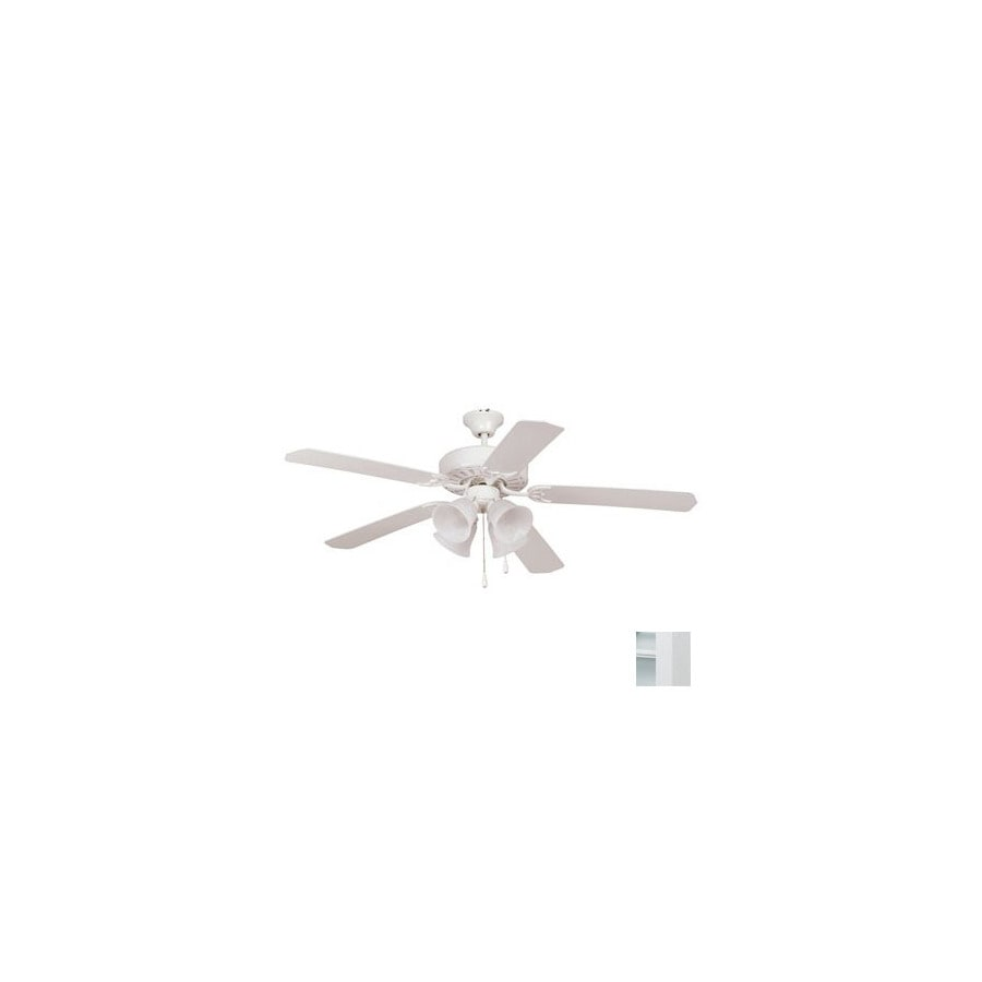 Yosemite Home Decor Builder 52-in White Downrod or Flush Mount Ceiling Fan with Light Kit