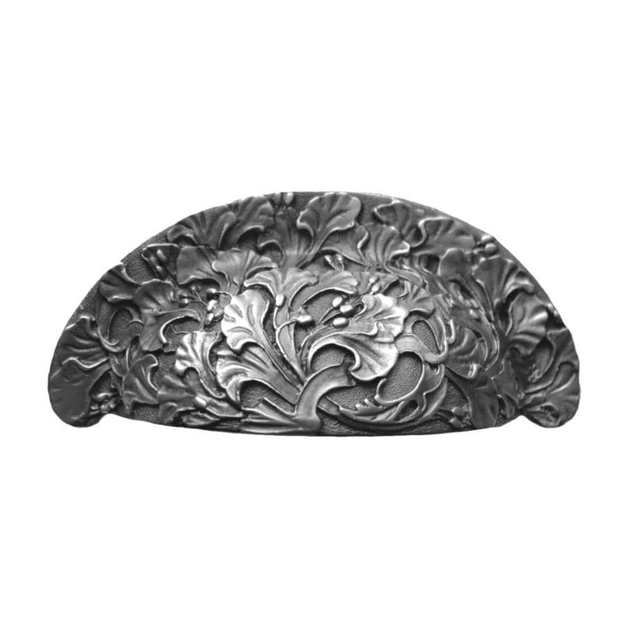 Notting Hill 3-in Center-to-Center Antique Pewter Florid Leaves Cup Cabinet Pull