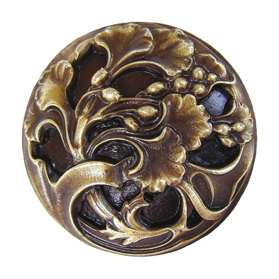 Notting Hill Florid Leaves Antique Brass Round Cabinet Knob