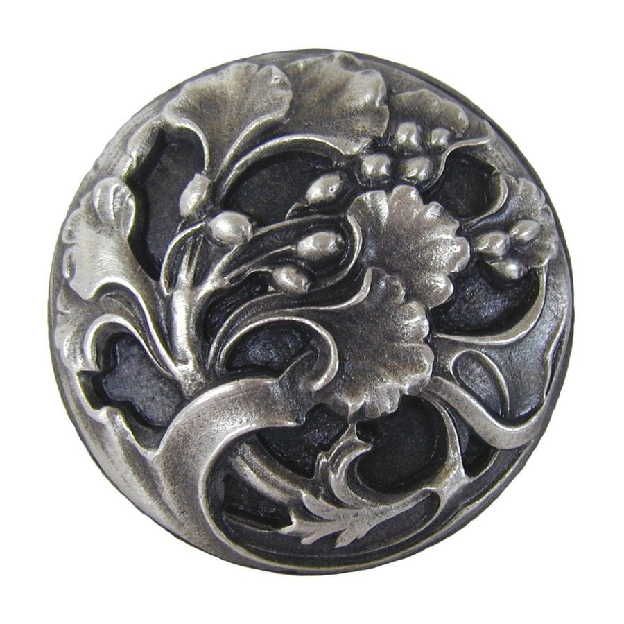 Notting Hill Florid Leaves Antique Pewter Round Cabinet Knob