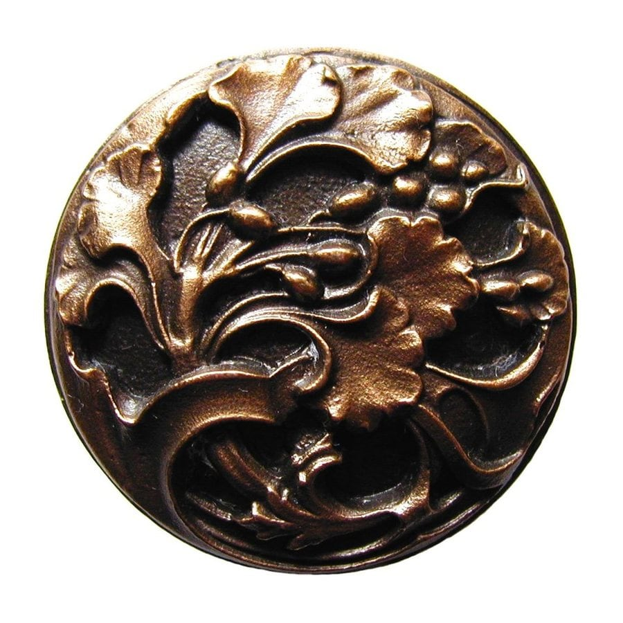 Notting Hill Florid Leaves Antique Bronze Round Cabinet Knob