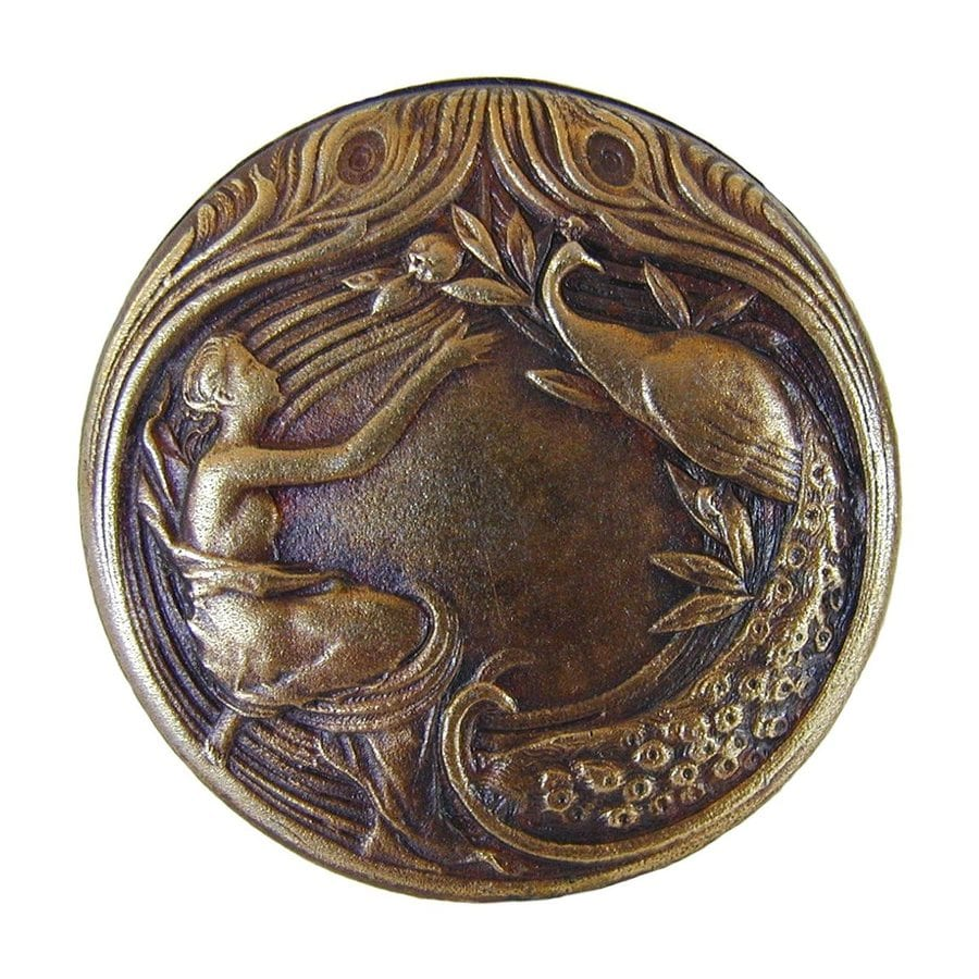 Notting Hill Peacock Lady Antique Brass Round Cabinet Knob