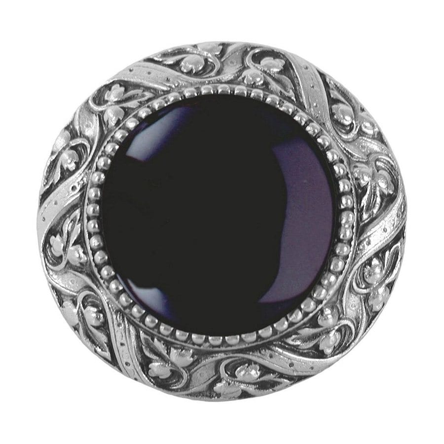 Notting Hill Victorian Jewel Onyx/Antique Pewter Round Cabinet Knob