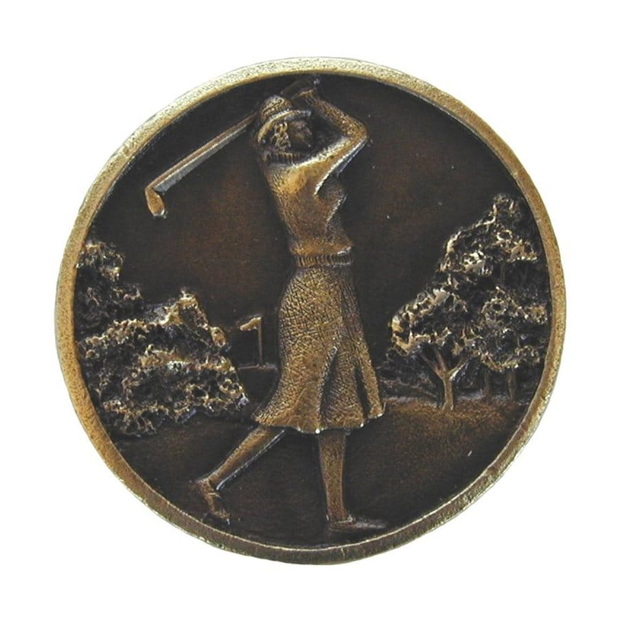 Notting Hill Lady Golfer Antique Brass Round Cabinet Knob
