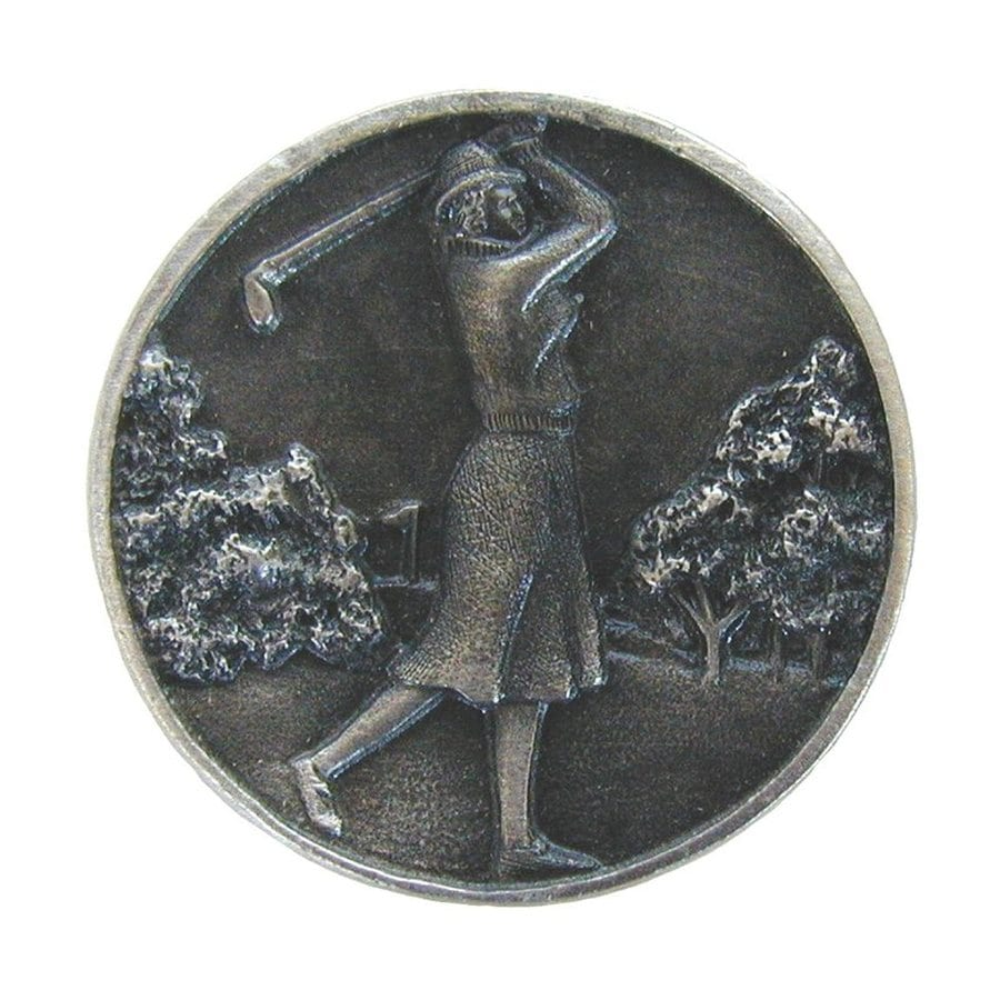 Notting Hill Lady Golfer Antique Pewter Round Cabinet Knob