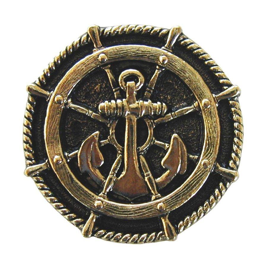 Notting Hill Ships Wheel Brite Brass Round Cabinet Knob