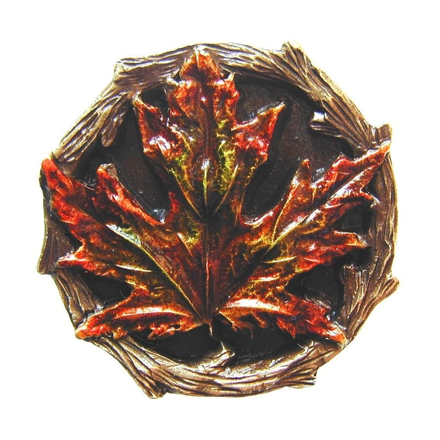 Notting Hill Maple Leaf Hand Tinted Brass Round Cabinet Knob