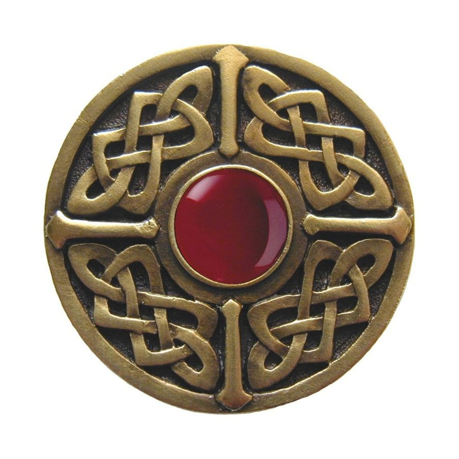 Notting Hill Celtic Jewel Carneliqantique Brass Round Cabinet Knob