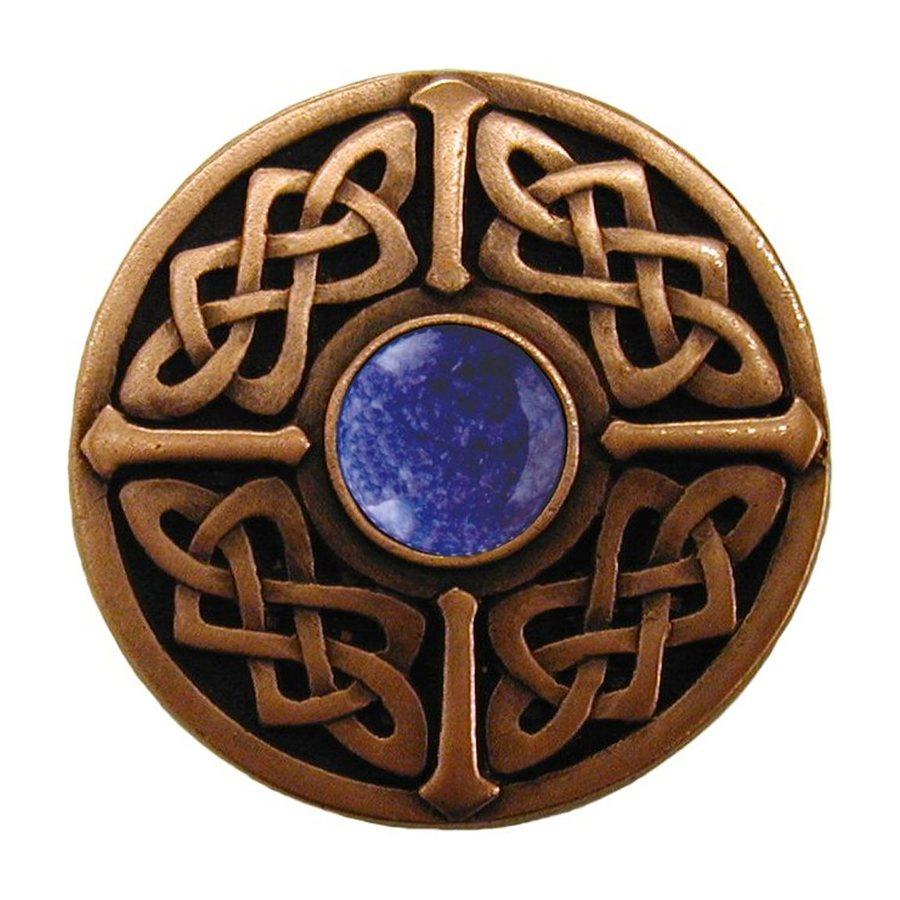 Notting Hill Celtic Jewel Blue Soldalite/Antique Copper Round Cabinet Knob