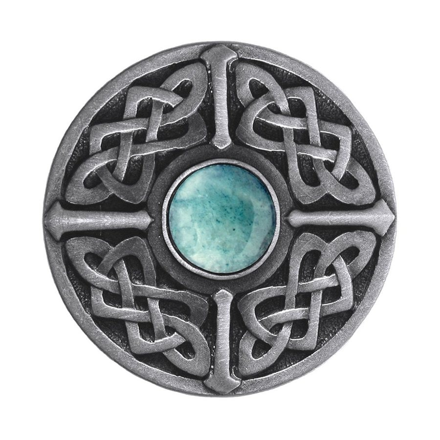 Notting Hill Celtic Jewel Green Adventurine/Antique Pewter Round Cabinet Knob