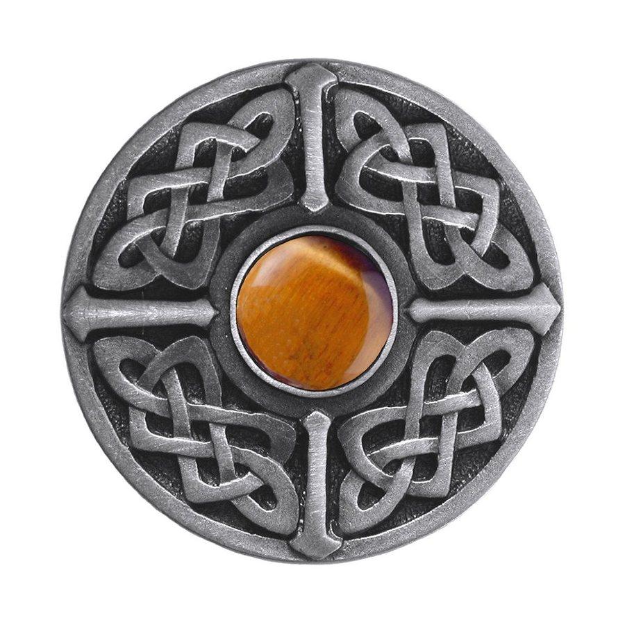 Notting Hill Celtic Jewel Tiger Eye/Antique Pewter Round Cabinet Knob