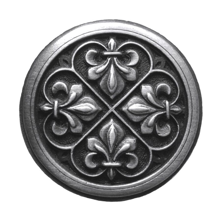 Notting Hill Fleur-de-Lis Antique Pewter Round Cabinet Knob