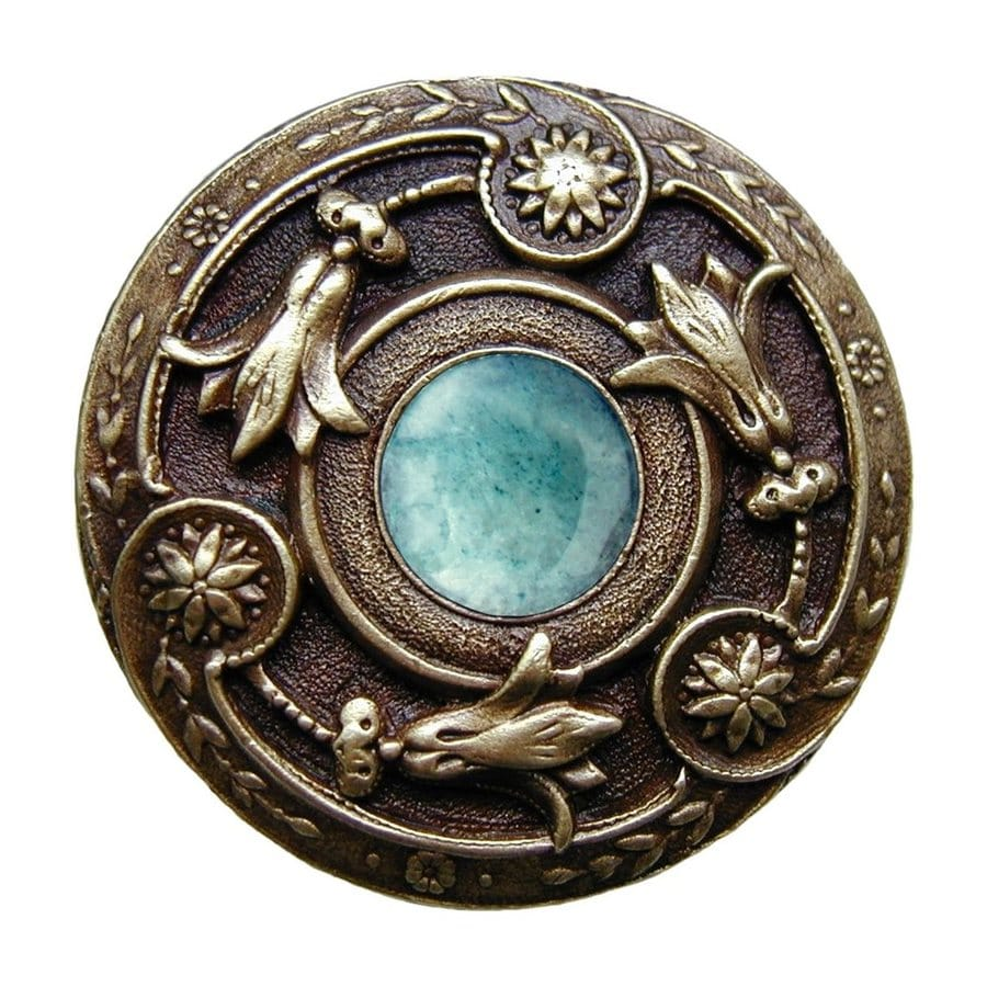Notting Hill Jeweled Lily Green Adventurine/Antique Brass Round Cabinet Knob