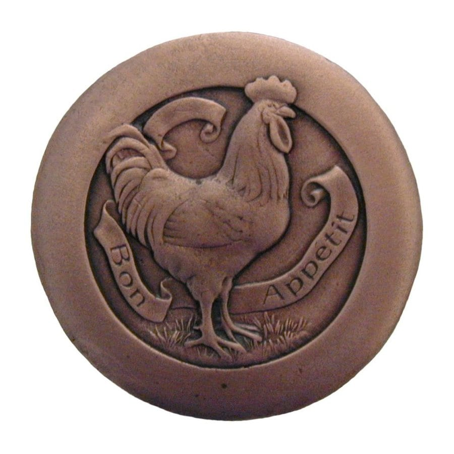 Notting Hill Rooster Antique Copper Round Cabinet Knob