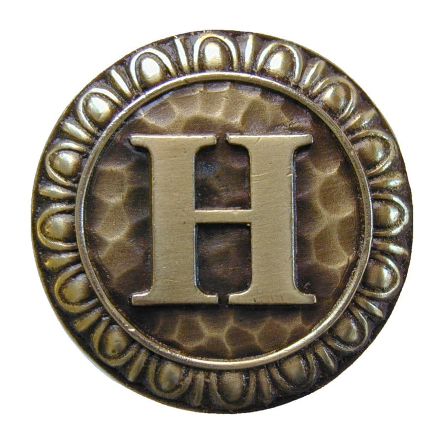 Notting Hill Initials H Antique Brass Round Cabinet Knob