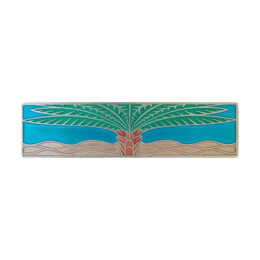 Notting Hill 3-in Center-To-Center Brilliant Pewter/Brite Turquoise Royal Palm Rectangular Cabinet Pull