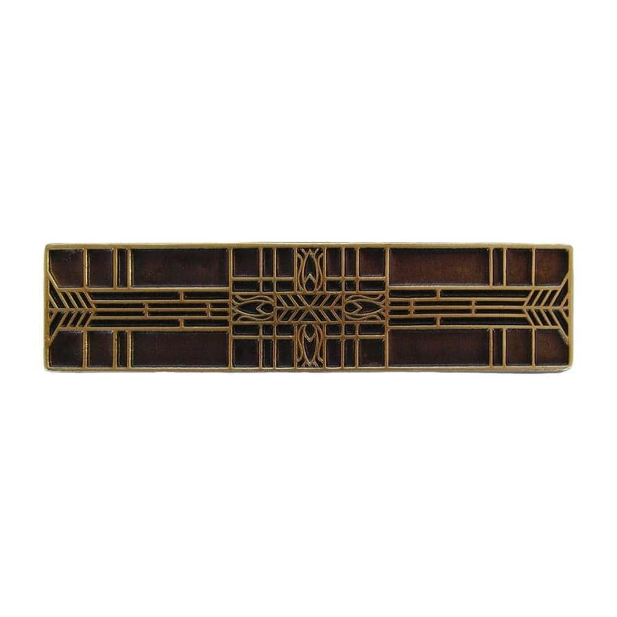 Notting Hill 3-in Center-to-Center Antique Brass Arts and Crafts Rectangular Cabinet Pull