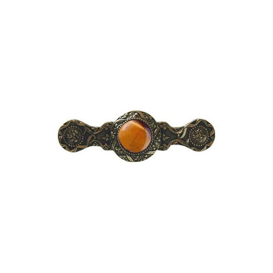 Notting Hill 3-in Center-To-Center Tiger Eye/Brite Brass Victorian Jewel Bar Cabinet Pull