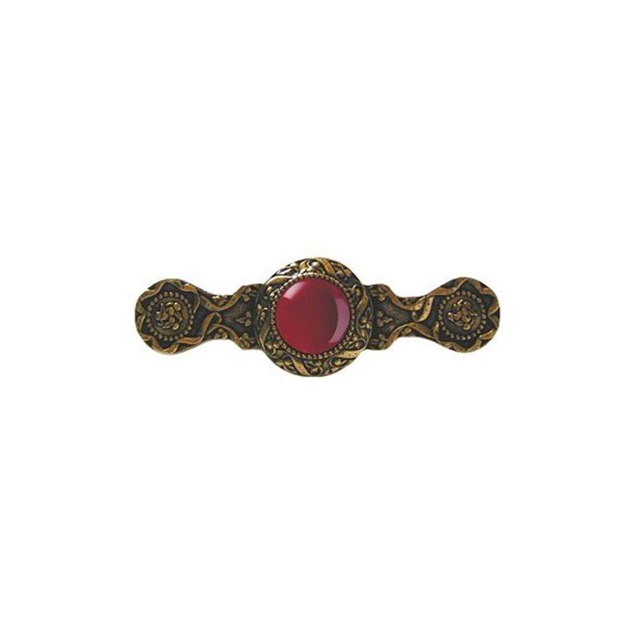 Notting Hill 3-in Center-To-Center Carnelian/Gold Victorian Jewel Bar Cabinet Pull
