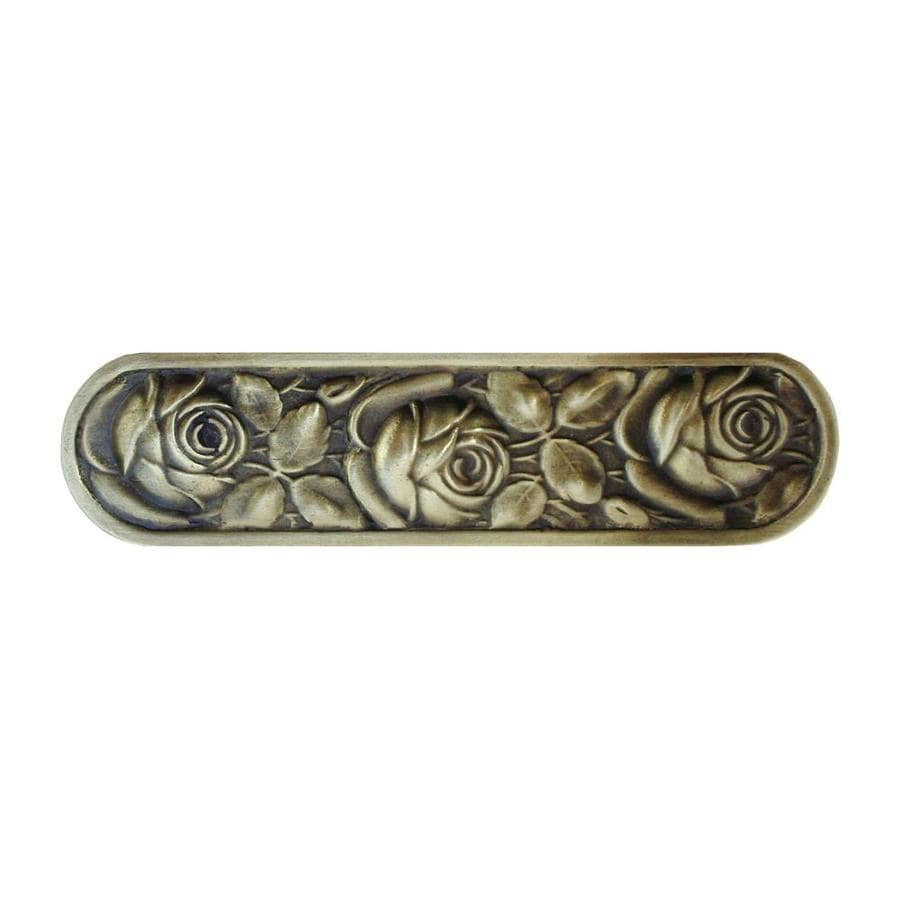 Notting Hill 3-in Center-To-Center Antique Brass Mckenna's Rose Bar Cabinet Pull