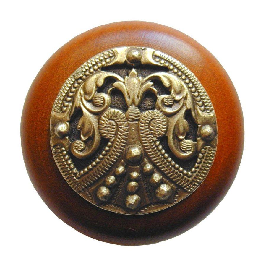 Notting Hill Olde World Regal Crest Cherry/Antique Brass Round Cabinet Knob