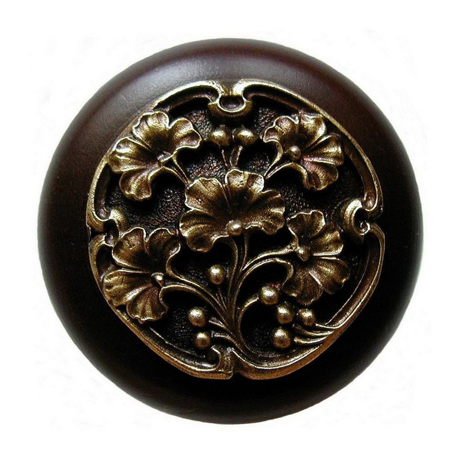 Notting Hill 1-1/2-in Brass Leaves Round Cabinet Knob