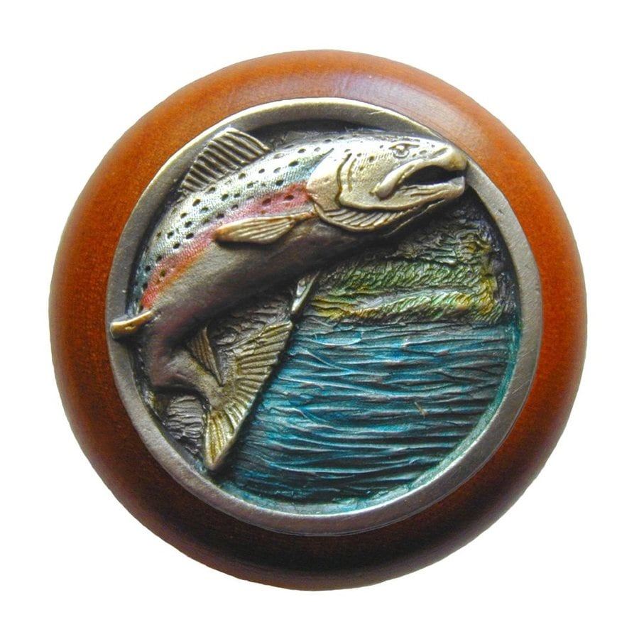 Notting Hill Leaping Trout Hand Tinted Pewter Round Cabinet Knob