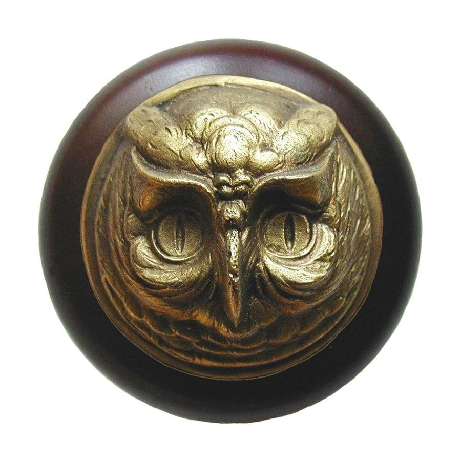 Notting Hill Owl Dark Walnut/Antique Brass Round Cabinet Knob