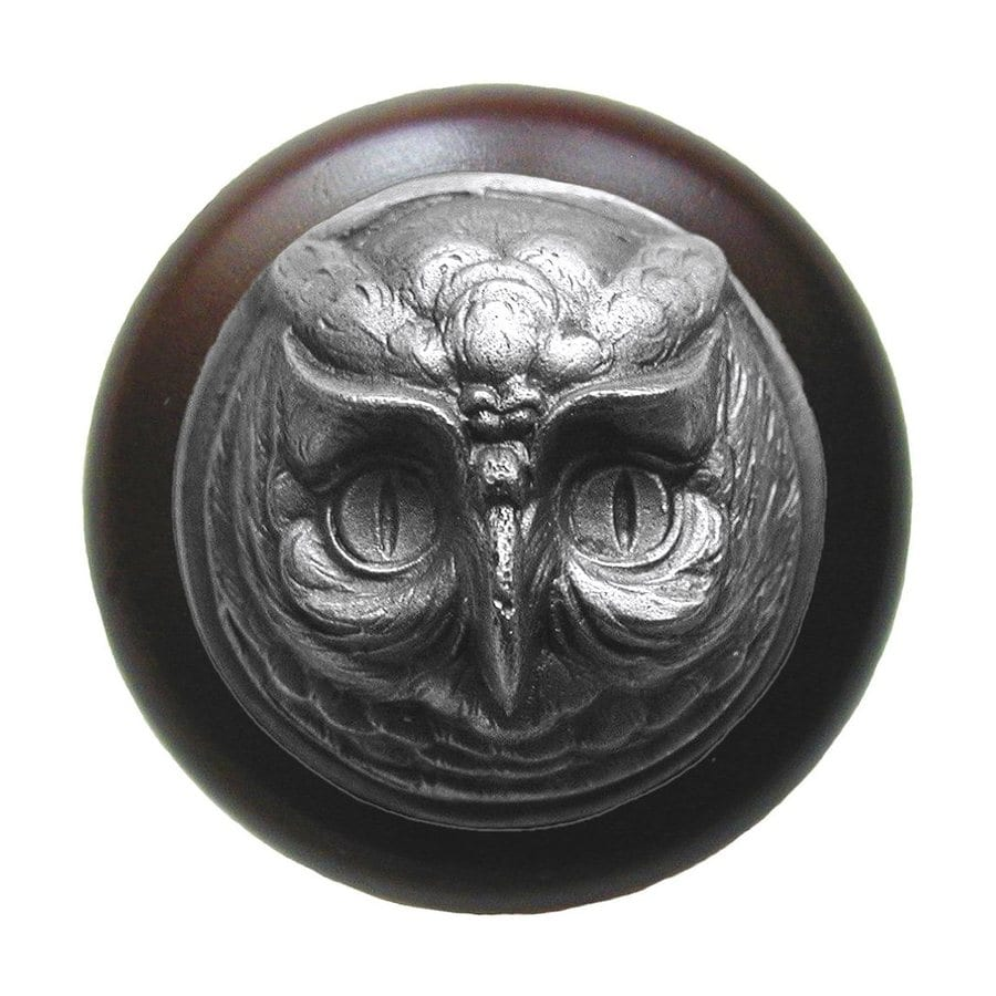 Notting Hill Owl Dark Walnut/Antique Solid Pewter Round Cabinet Knob