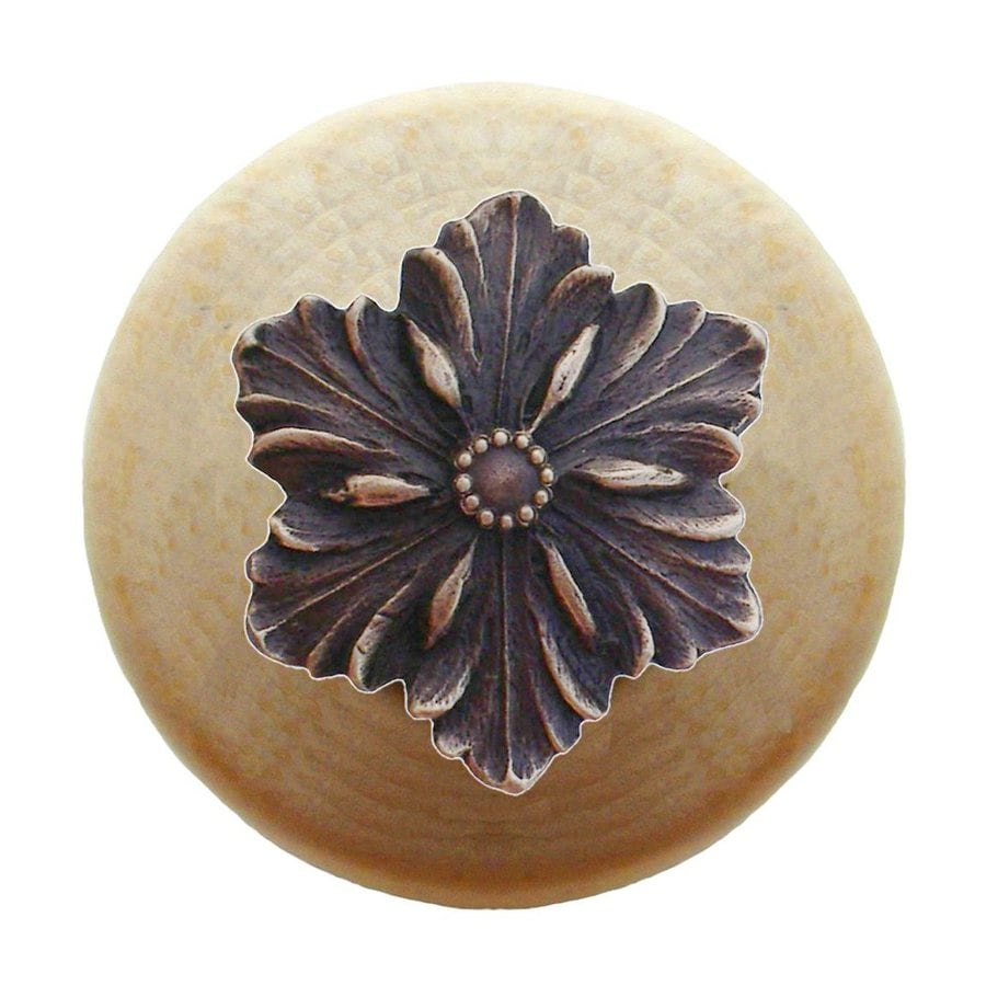 Notting Hill Opulent Flower Antique Bronze Round Cabinet Knob