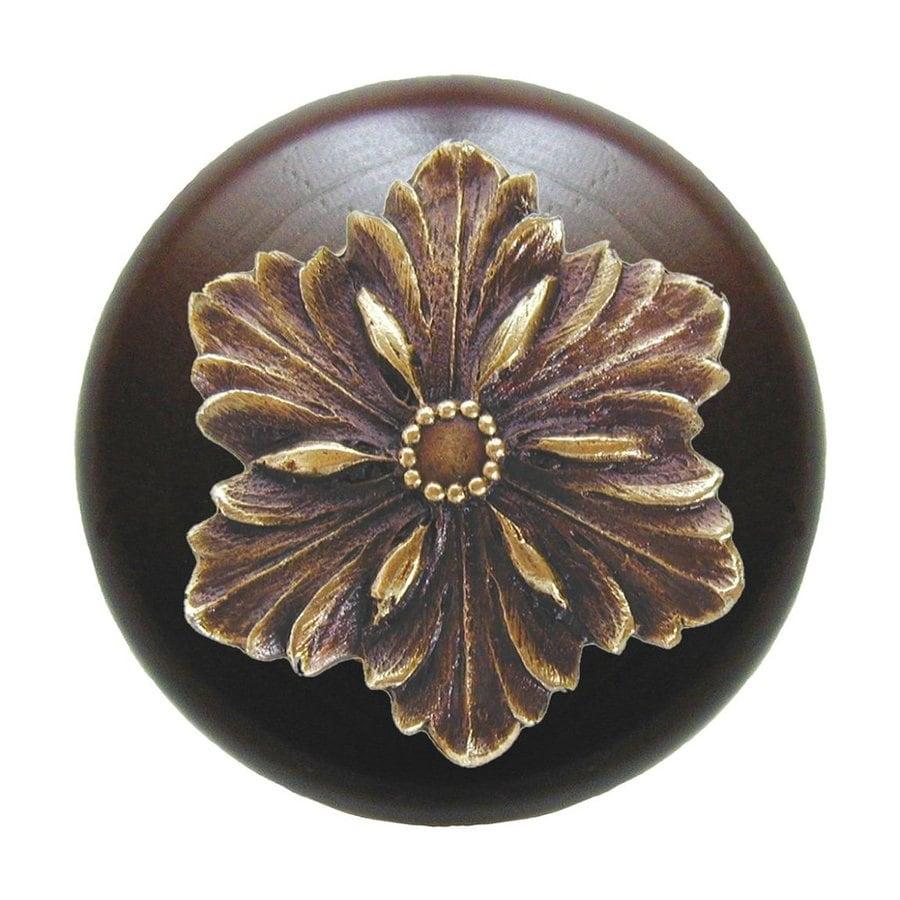 Notting Hill Opulent Flower Dark Walnut/Antique Brass Round Cabinet Knob