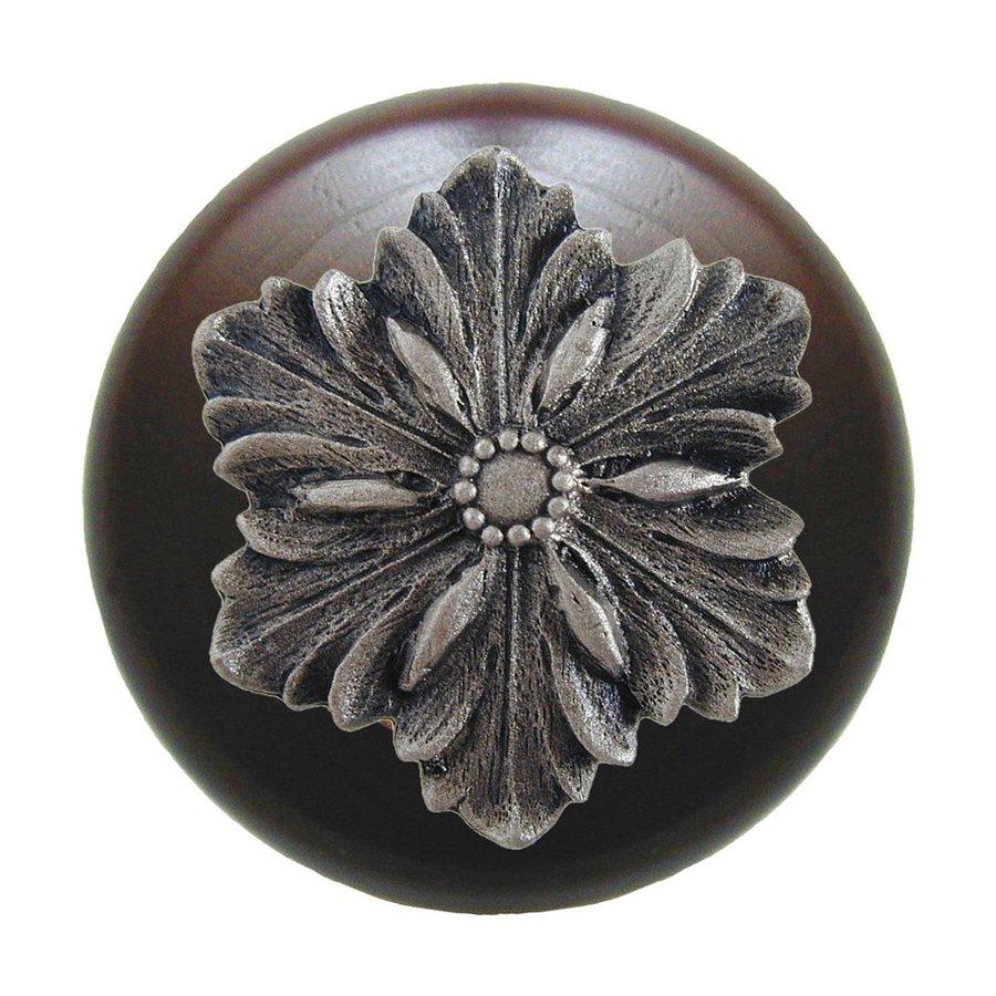 Notting Hill Opulent Flower Dark Walnut/Satin Nickel Round Cabinet Knob