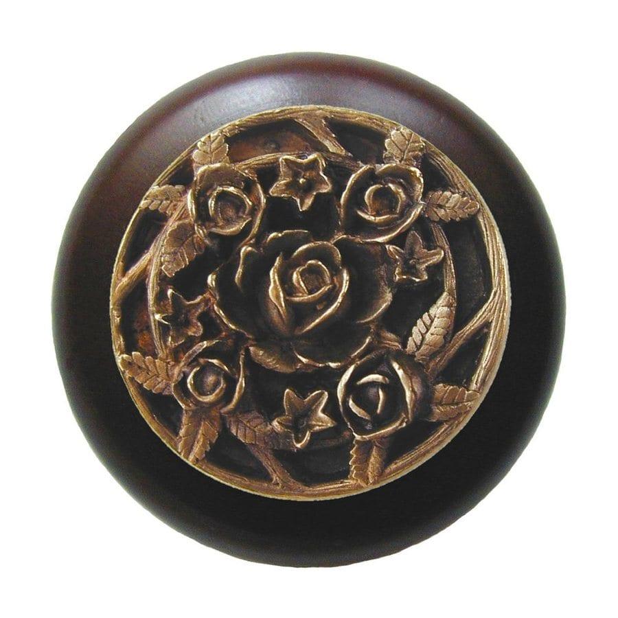 Notting Hill Saratoga Rose Dark Walnut/Antique Brass Round Cabinet Knob