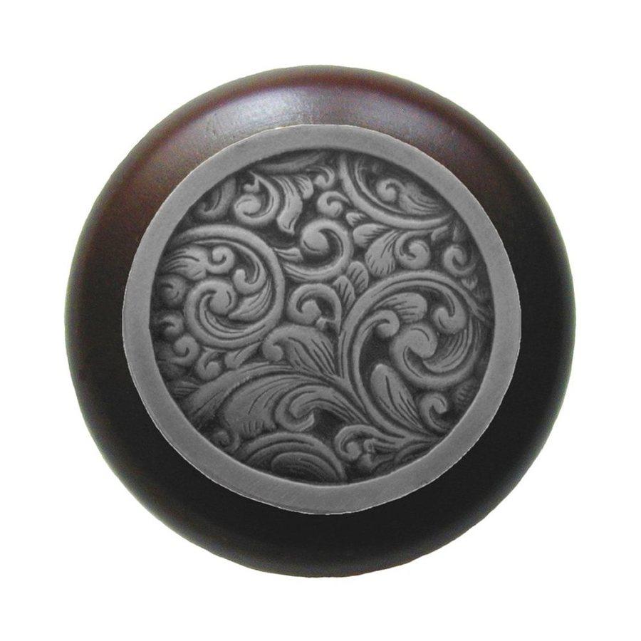 Notting Hill Sadddleworth Dark Walnut/Antique Solid Pewter Round Cabinet Knob