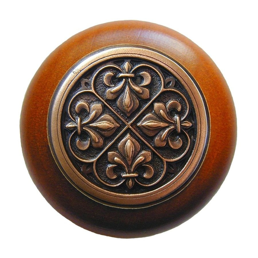 Notting Hill Olde World Fleur-de-Lis Cherry/Antique Copper Round Cabinet Knob