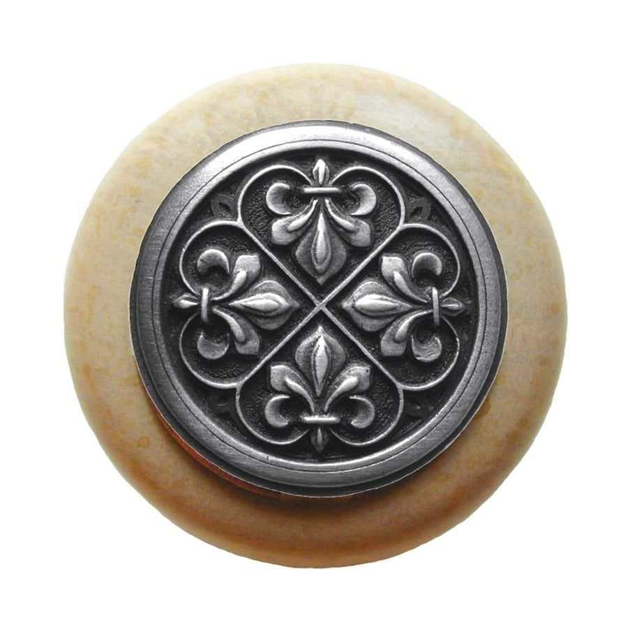 Notting Hill Olde World Fleur-de-Lis Antique Solid Pewter Round Cabinet Knob