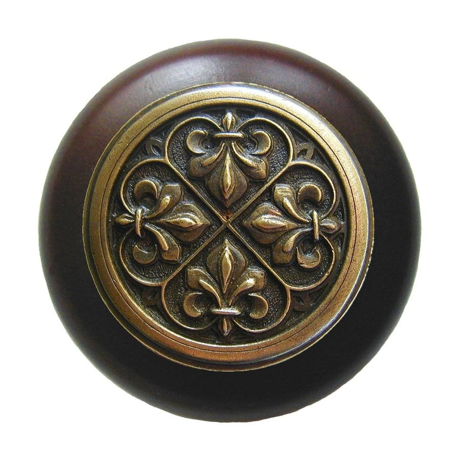 Notting Hill Olde World Fleur-de-Lis Dark Walnut/Antique Brass Round Cabinet Knob