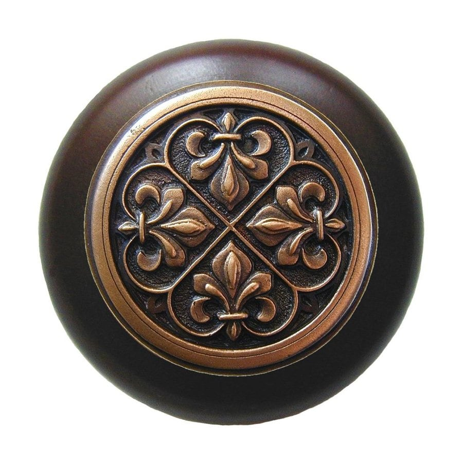 Notting Hill Olde World Fleur-de-Lis Dark Walnut/Antique Copper Round Cabinet Knob