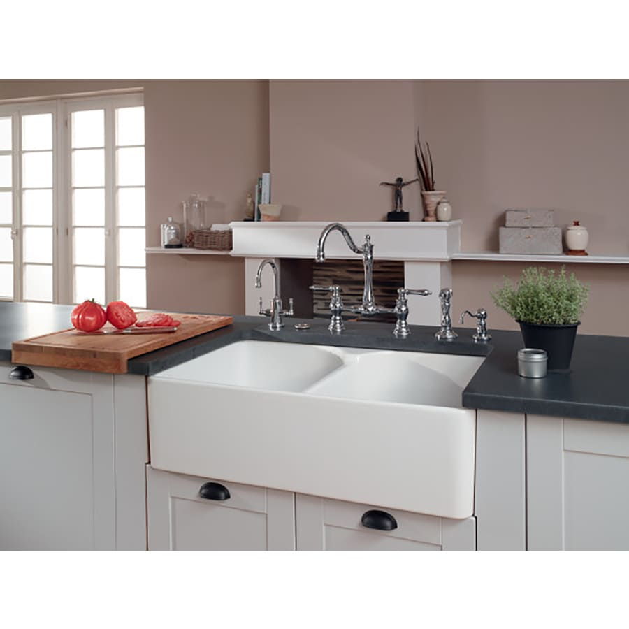 Franke Manor House 21.875-in x 35.625-in White 2 Fireclay Apron Front/Farmhouse 1-Hole Residential Kitchen Sink