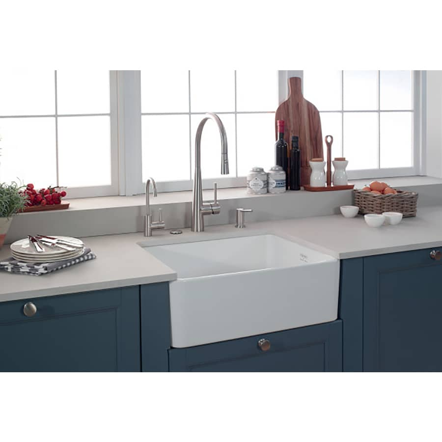 Franke Manor House 19.875-in x 27.125-in White 1 Fireclay Apron Front/Farmhouse (Customizable)-Hole Residential Kitchen Sink