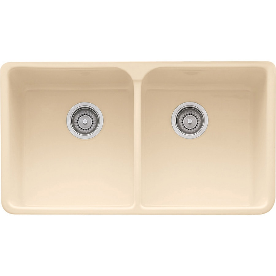 Franke Manor House 21.875-in x 35.625-in Biscuit Single-Basin-Basin Fireclay Apron Front/Farmhouse 1-Hole Residential Kitchen Sink