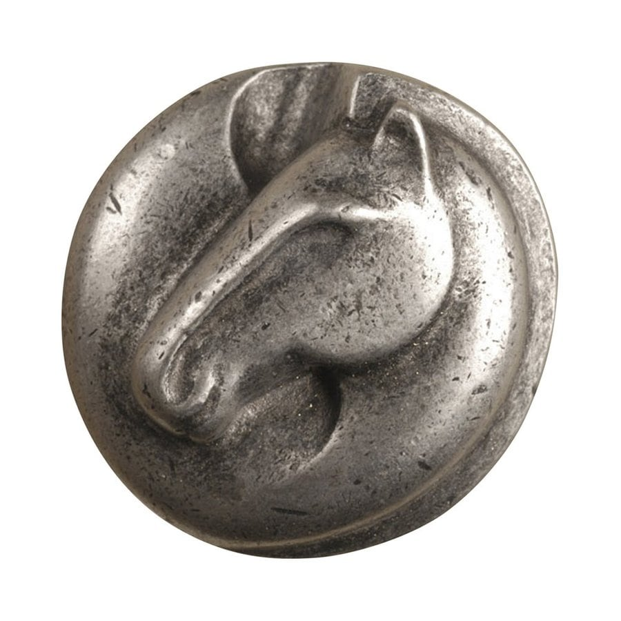 Anne at Home Horses Pewter Matte Round Cabinet Knob