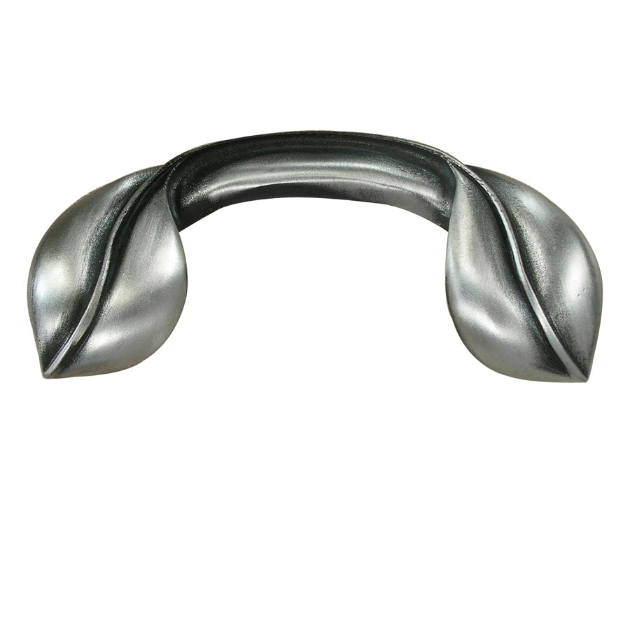 Anne at Home 3-in Center-to-Center Satin Pewter Leaves Cabinet Pull