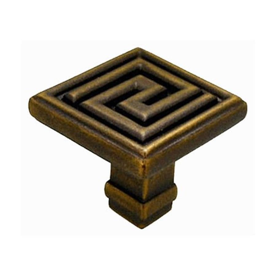 Anne at Home Greek Key Bronze Rubbed Square Cabinet Knob